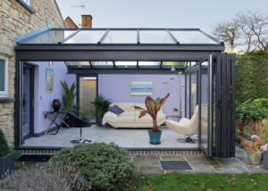 glass extensions with bi folding doors