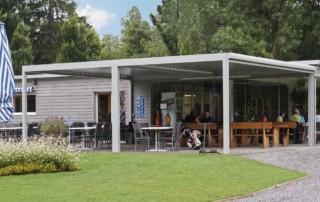 louvered canopy veranda at golf club