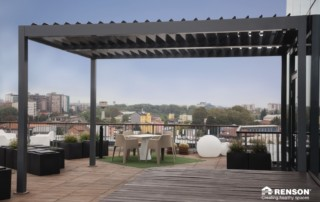 louvered canopy for restaurant