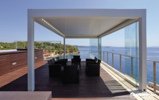 renson louvered canopy offers shaded area