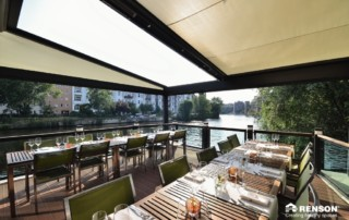 awning to give shade for restaurant diners